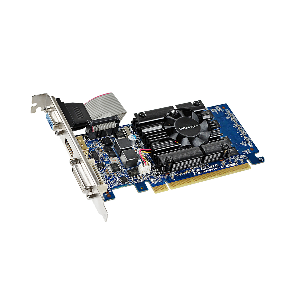 Gigabyte GV-N610-1GI Graphics Cards 64 Bit GT 610 1GB DDR3 HDMI DVI VGA For Nvidia Geforce GT610 Original Used Video Card