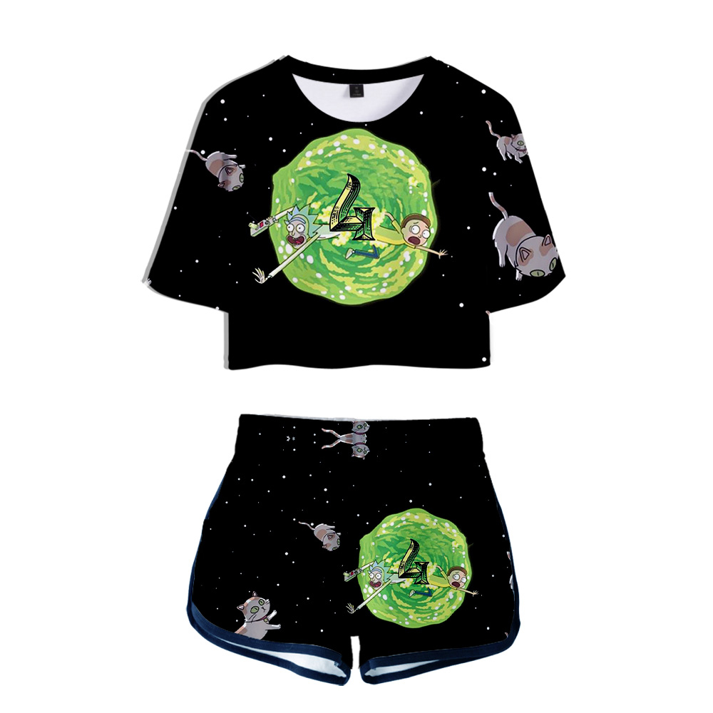 Rick And Morty 3D Printed Women Two Piece Set Fashion Summer Short Sleeve Crop Top+Shorts 2019 Hot Sale Streetwear Clothes