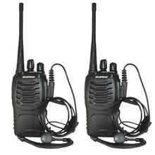 2 Pçs/lote BF-888S conjunto de Mini Walkie Talkie bf-888s Baofeng Handheld em Dois Sentidos de Carga USB Portátil Presunto Rádio caça caminhadas