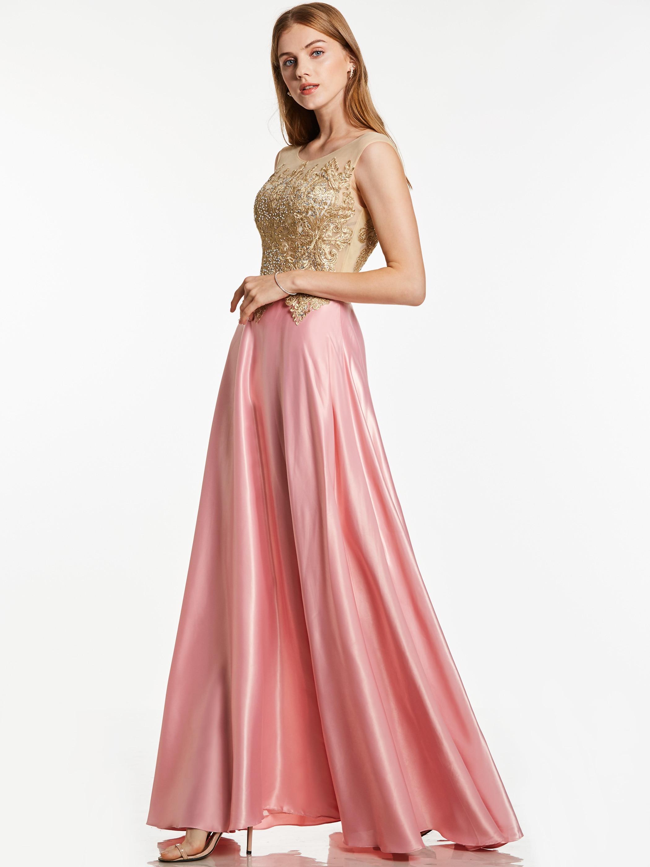 Dressv appliques robe de soirée rose col de bateau sans manches longueur de plancher une ligne robe pas cher femmes formelle bal longue robe de soirée