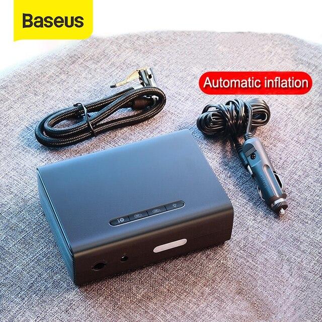 Baseus 12V sprężarka powietrza samochodowa inteligentny opona samochodowa pompa nadmuchiwana Mini przenośne elektryczne opona samochodowa Inflator kompresor