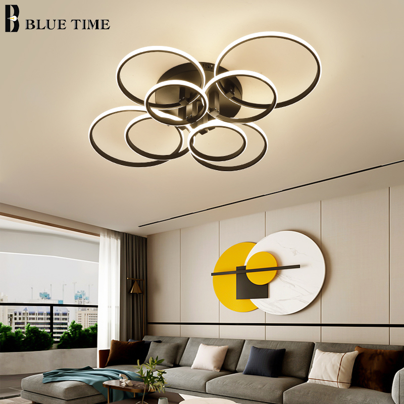 Black White LED Chandeliers For Living Room Bedroom Indoor Lighting Fixtures Led Ceiling Chandelier Home Lighting Circle Lamps
