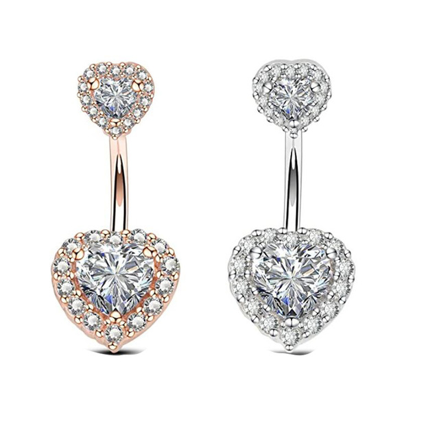 Zircon Crystal Belly Button Rings For Women Nombril Ombligo Navel Ring Surgical Steel Barbell Heart Round Body Piercing Jewelry 3