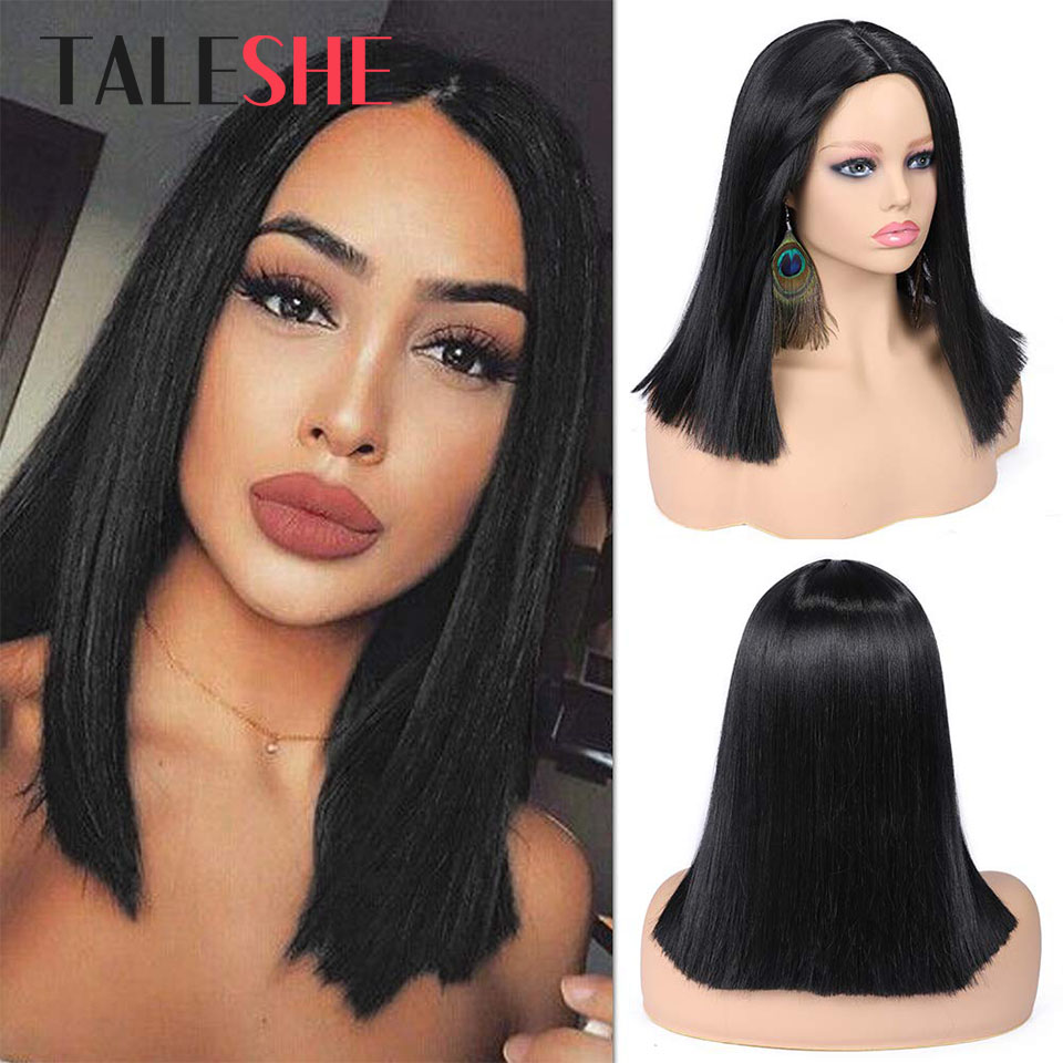 Short Straight Black Synthetic Wigs For Black Women Hair Bob Wig Heat Resistant Shoulder Length Cosplay Wigs Natural TALESHE