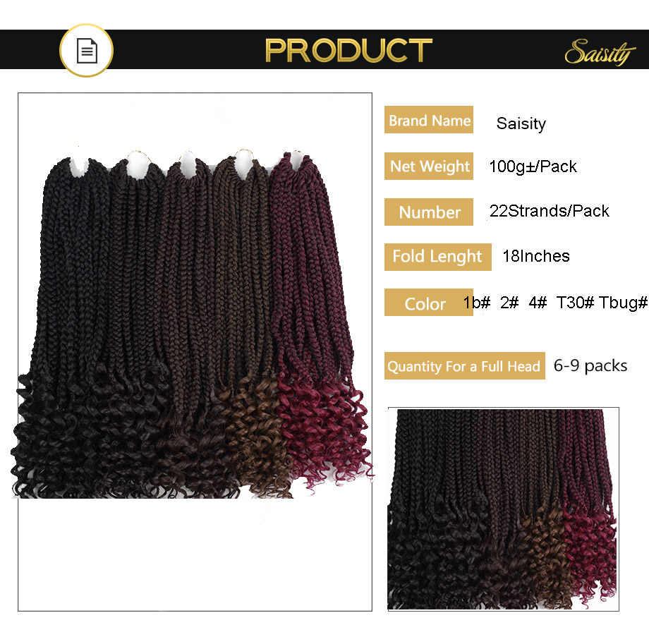 """Saisity 18 """"22 extensiones de hebras caja trenzas con extremos rizados fibra de baja temperatura sintético trenzado de pelo"""