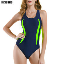 Riseado 2021 One Piece Swimsuit Sport Swimming Suits for Women Competition Racer Back Swimwear Patchwork Bathing Suits
