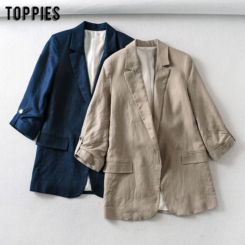 Summer Cotton And Linen Suit Jackets Leisure Ladies Blazer Casual Women Coat Solid Color Formal Clothes