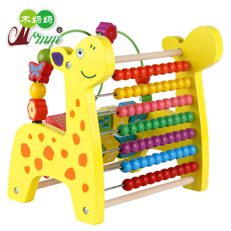 Wooden Multi-functional Cartoon Deer Beads Bead-stringing Toy Beaded Bracelet Calculation Frame Infants Children Early Education