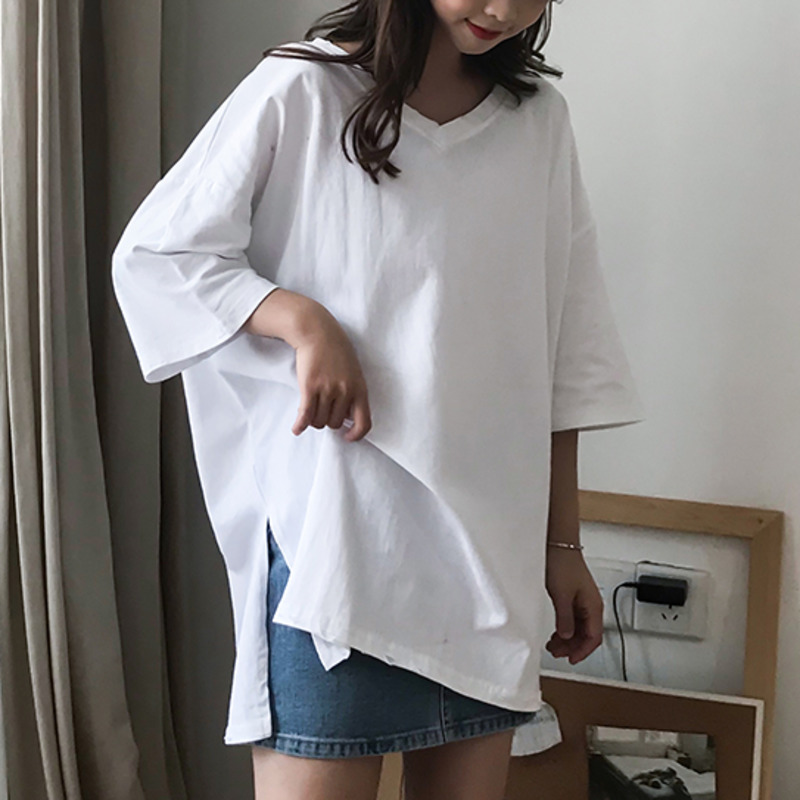 V Neck Tops T Shirt For Women Summer Casual Loose Split Short Sleeve T-shirt Oversized Solid Harajuku Simple Tshirt Street Style
