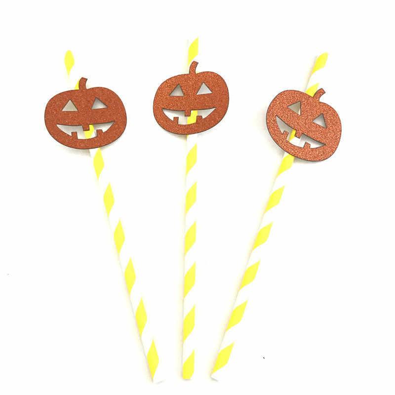 10 Pcs Halloween Horror SPIDER SKULL Labu Bat Penyihir Boo Kertas Minum Jerami Halloween Dekorasi DIY Sedotan Foto