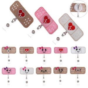 1PC New Creative Cloth Nurse Retractable Badge Pull Buckle Reel Clip Cute Drawing Bandage Style Students ID Card Badge Holder