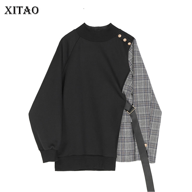 XITAO Tide Patchwork Plaid Irregular Sweatshirt Women Clothes 2020 Fashion New Spring Pullover Full Sleeve Match All Top XJ3710 1