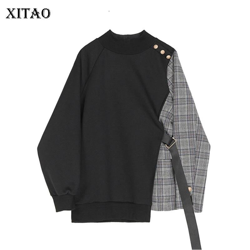 XITAO Tide Patchwork Plaid Irregular Sweatshirt Women Clothes 2020 Fashion New Spring Pullover Full Sleeve Match All Top XJ3710