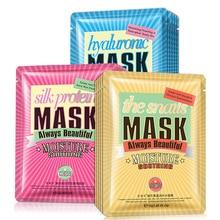 Görüntüleri hyaluronik asit salyangoz ipek proteini kumaş yüz maskesi nemlendirici yüz maskeleri yağ kontrolü akne anti aging cilt bakım