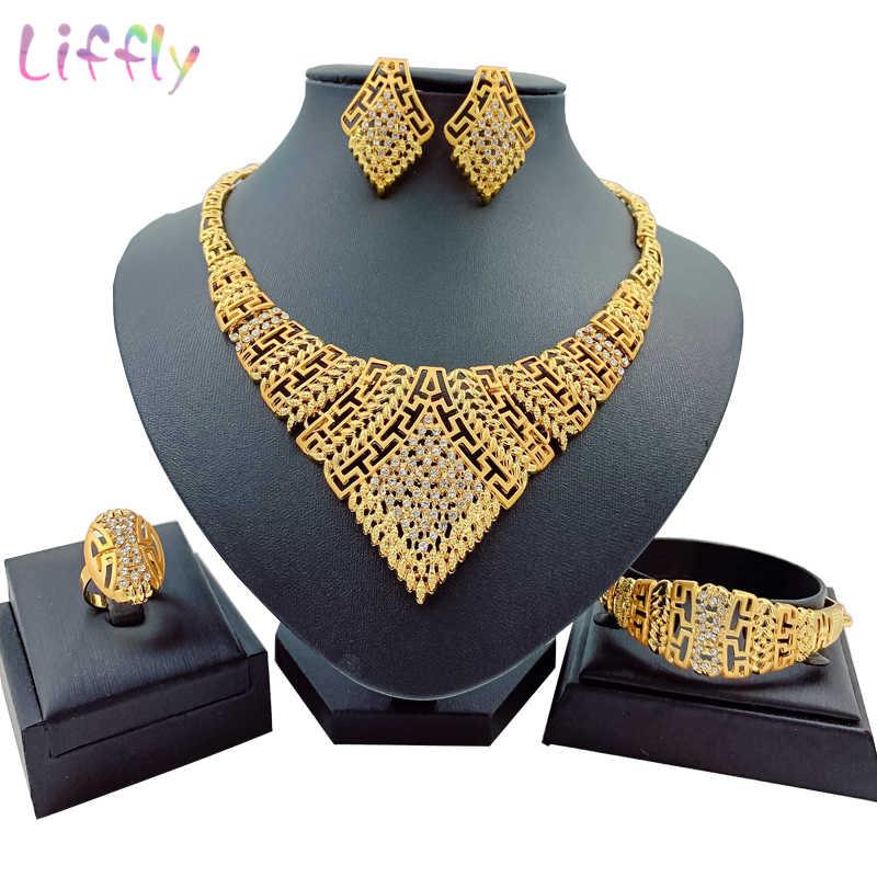Ażurowa biżuteria naszyjnik afrykański urok kobiety prezent biżuteria dubaj kryształowy pierścień kolczyki bransoletki Nigeria zestawy biżuterii dla kobiet