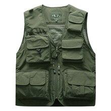 Chaleco de pesca táctico para hombre al aire libre chaqueta de Safari para hombre chaquetas de viaje sin mangas con múltiples bolsillos 5XL 6XL 7XL, 7898m