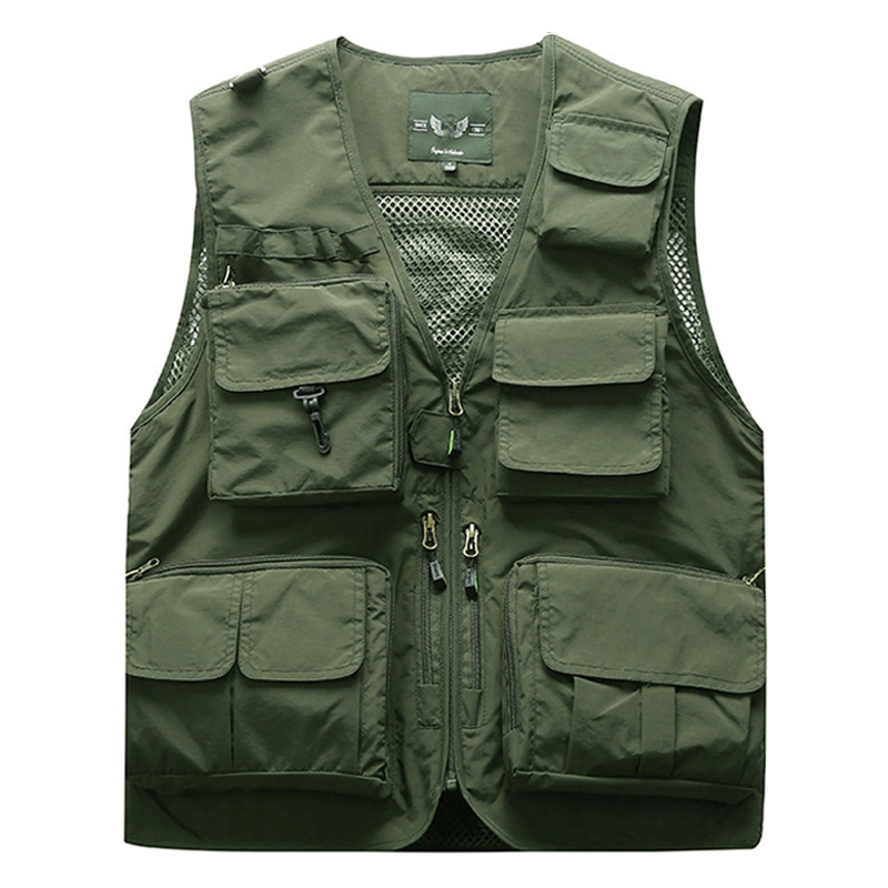 Outdoor Men's Tactical Fishing Vest Jacket Man Safari Jacket Multi Pockets Sleeveless Travel Jackets 5XL 6XL 7XL, 7898m
