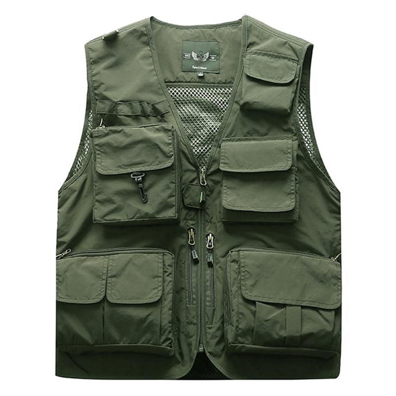 Outdoor Men's Tactical Fishing Vest Jacket Man Safari Jacket Multi Pockets Sleeveless Travel Jackets 5XL 6XL 7XL, 7898m