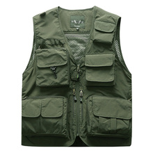 Outdoor Mens Tactical Fishing Vest jacket man Safari Jacket Multi Pockets Sleeveless travel Jackets 5XL 6XL 7XL, 7898m