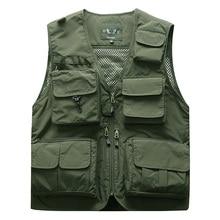 Veste de pêche tactique pour hommes, veste multi poches sans manches, vestes de voyage de 5XL 6XL 7XL, 7898m