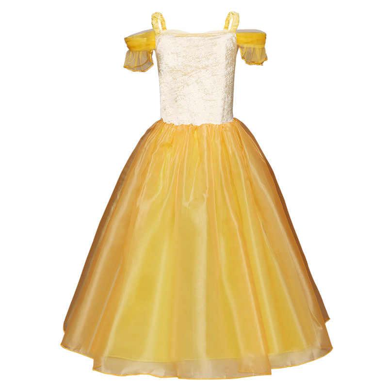Cadılar bayramı karnaval parti çocuklar uyku güzellik Aurora prenses Cosplay elbise çocuk günü Belle prenses kız noel kostüm