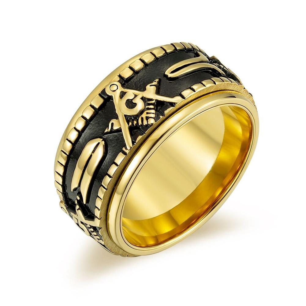 Popular jewelry stainless steel Rotate Band Ring Freemason Masonic Men Spinner Mason Rings Free past master free shippping