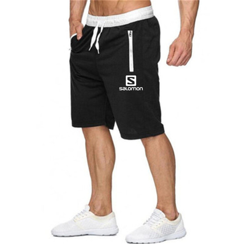2019 New Fashion Men   Shorts   Salomon Printed Pocket Zip Casual Knee Length   Shorts   Men Beach Fitness Sweatpants M-XXL