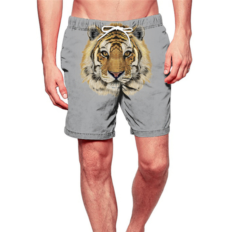 Shorts Men Fashion Swimming Trunks Sport Sweat Suit Quick Dry Beach Surfing Running Lion Board Shorts Funny Pants Men Shorts