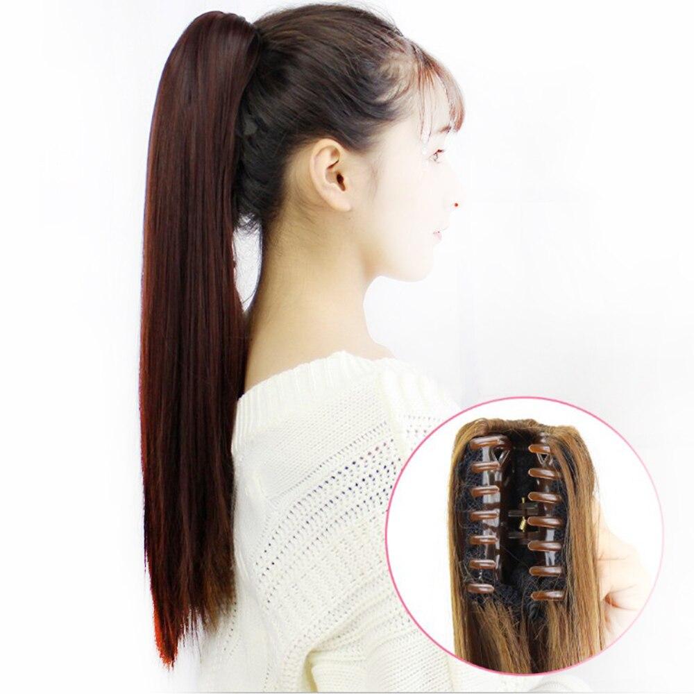 Soowee-Extensión de pelo largo sintético con Clip, postizos colitas, color rubio y gris