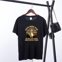 Sloth Hiking Team Printed T-shirts Women Summer Cotton Graphic Tees Loose Aesthetic Clothes Anime Round Neck Tops for Women 2020