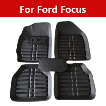 Car Interior Foot Pad Mats Wear-Resistant Non-Slip Wrapping For Ford Focus Carpet Floor Mats Waterproof Stain-Resistant image