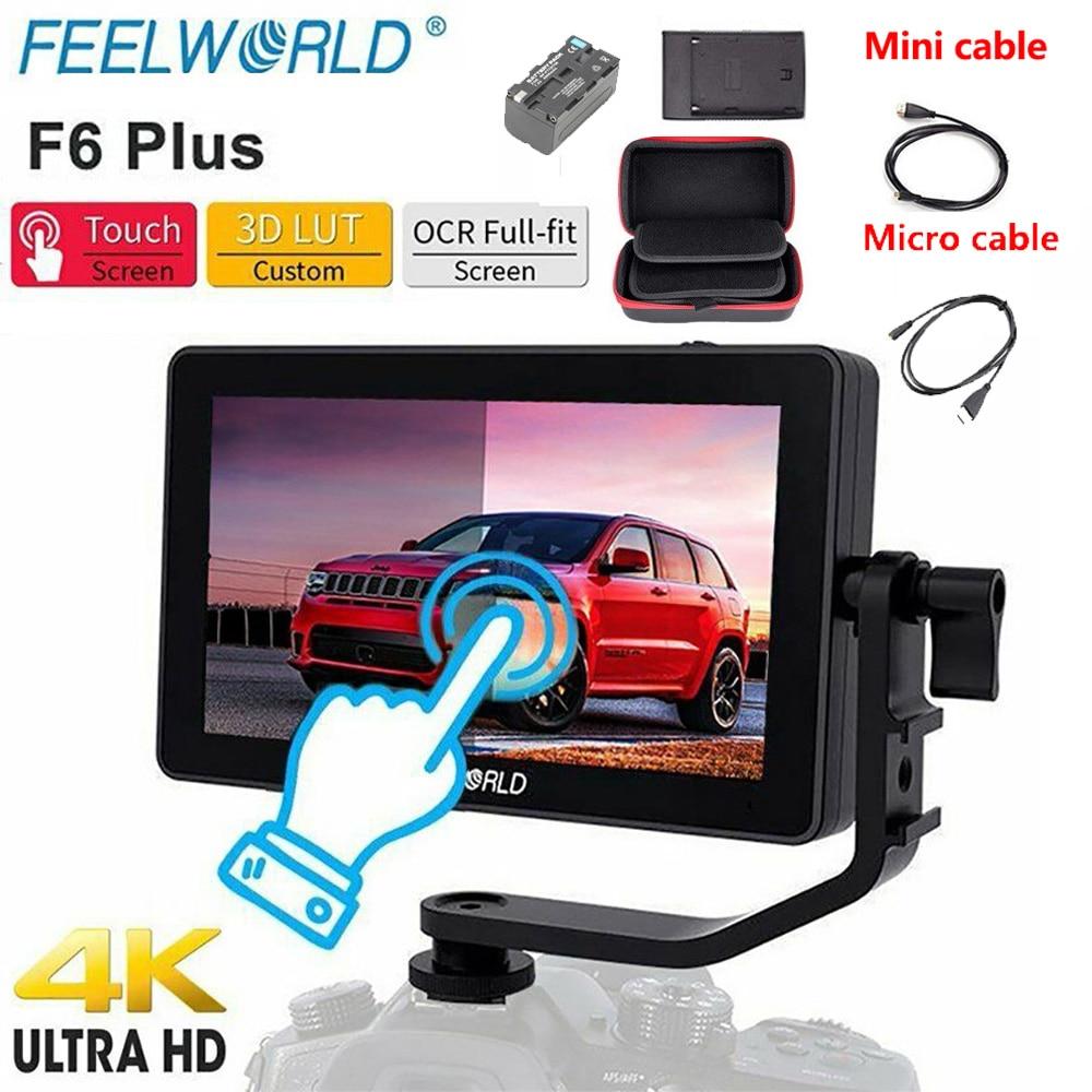 FEELWORLD F6 Plus 5,5 дюймов DSLR камера полевой монитор 3D LUT сенсорный экран 4K HDMI IPS FHD 1920X1080 монитор для камеры + батареи