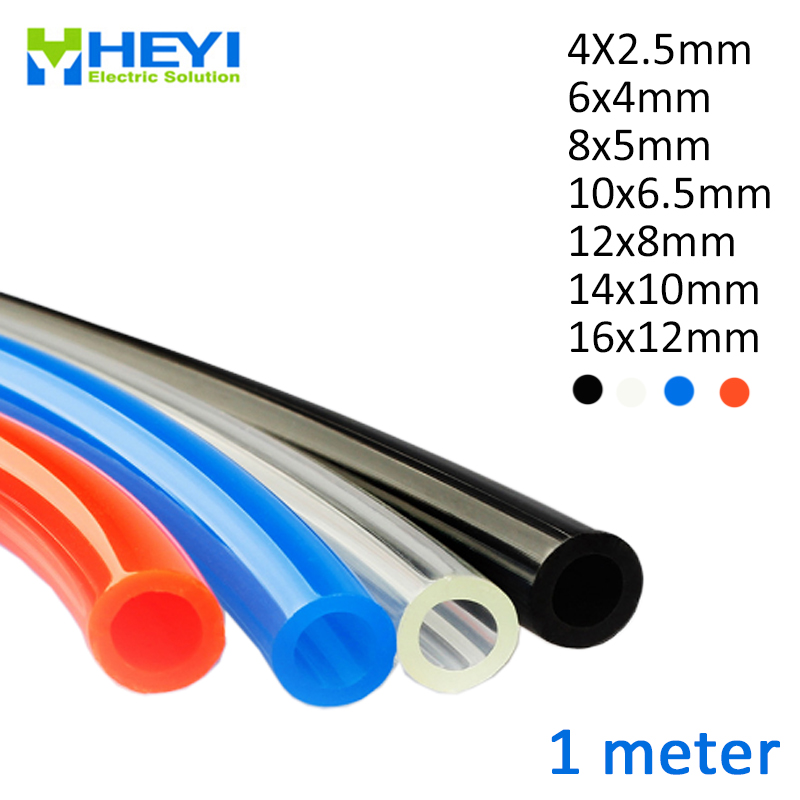1 Meter 4*2.5mm 6*4mm 8*5mm 10*6.5mm 12*8mm 14*10mm 16*<font><b>12mm</b></font> For Pneumatic Parts Pneumatic Component Pu Tube Air <font><b>Hose</b></font> Pipe image