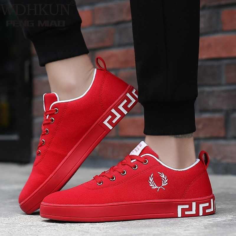 Femmes baskets rouge noir femmes chaussures décontractées 2020 mode printemps automne respirant à lacets grande taille plate-forme toile chaussures femme