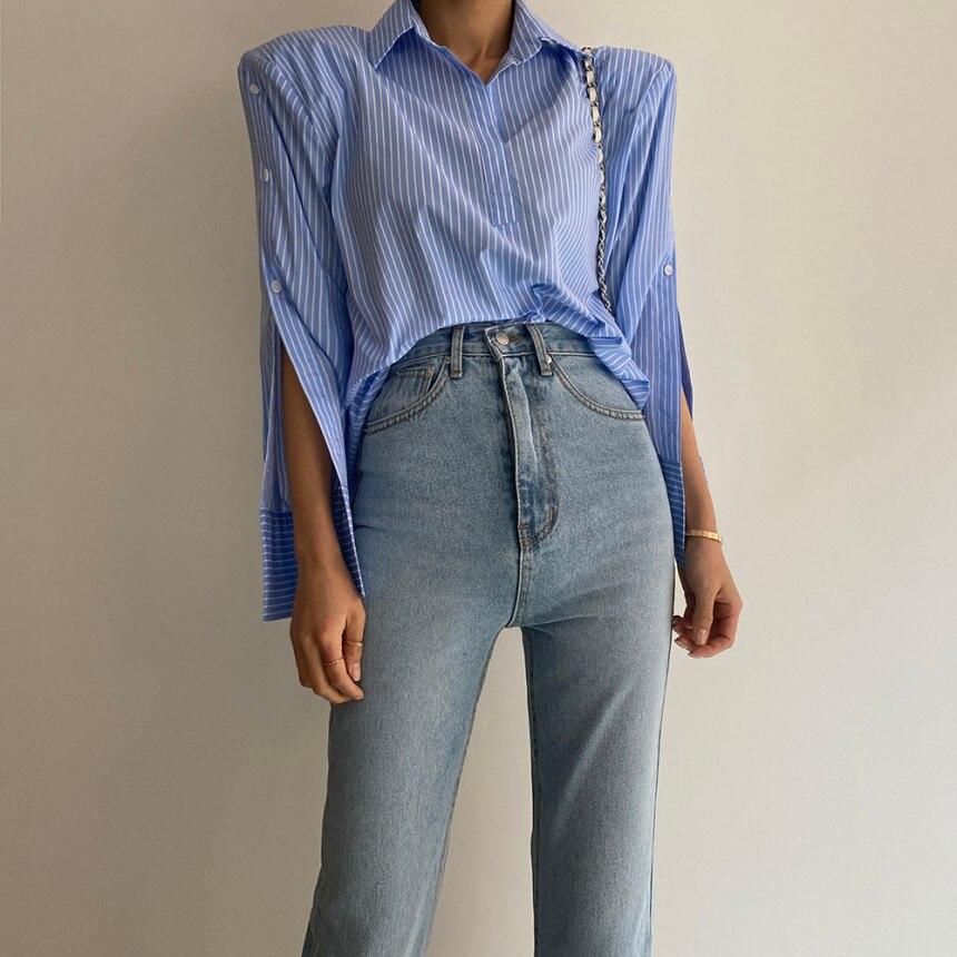 H6c6572301e904077b120697bff30870dJ - Spring / Autumn Turn-Down Collar Long Sleeves Back Slit Loose Striped Blouse