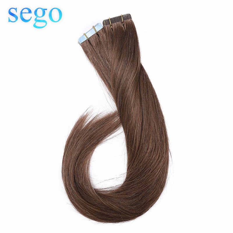 "SEGO 12""-24"" 50g Straight Tape in Hair Extensions Non-Remy Skin Weft Tape in Human Hair Extensions Double Side Tape Extensions"