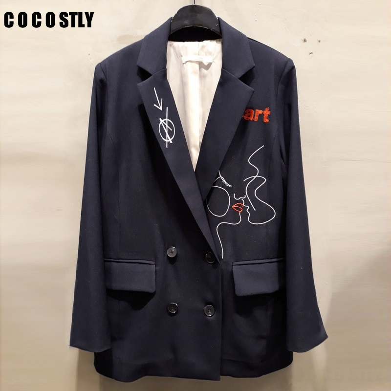 2019 New Fashion Notched Casual Long Sleeve Blazers Women Pockets Elegant Temperament Letter Embroidered Women's Suit