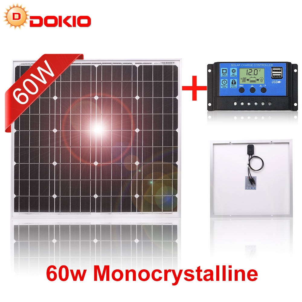 DOKIO 18V 40W/60W/80W Monocrystalline Solar Panel China Charge 12V 60 Watt Black Waterproof Panels Solar Cell For Home Russian(China)