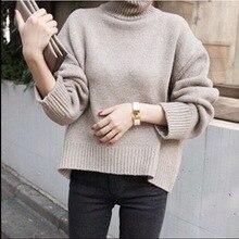 Женский свитер с высоким воротом, зимний теплый шерстяной трикотаж, однотонные свободные топы