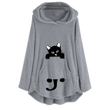 plus size feminino Autumn Winter Thick Womens Cat Embroidery Plus Size Warm Hoodie Top Flannel pullover roupas Femininas(China)