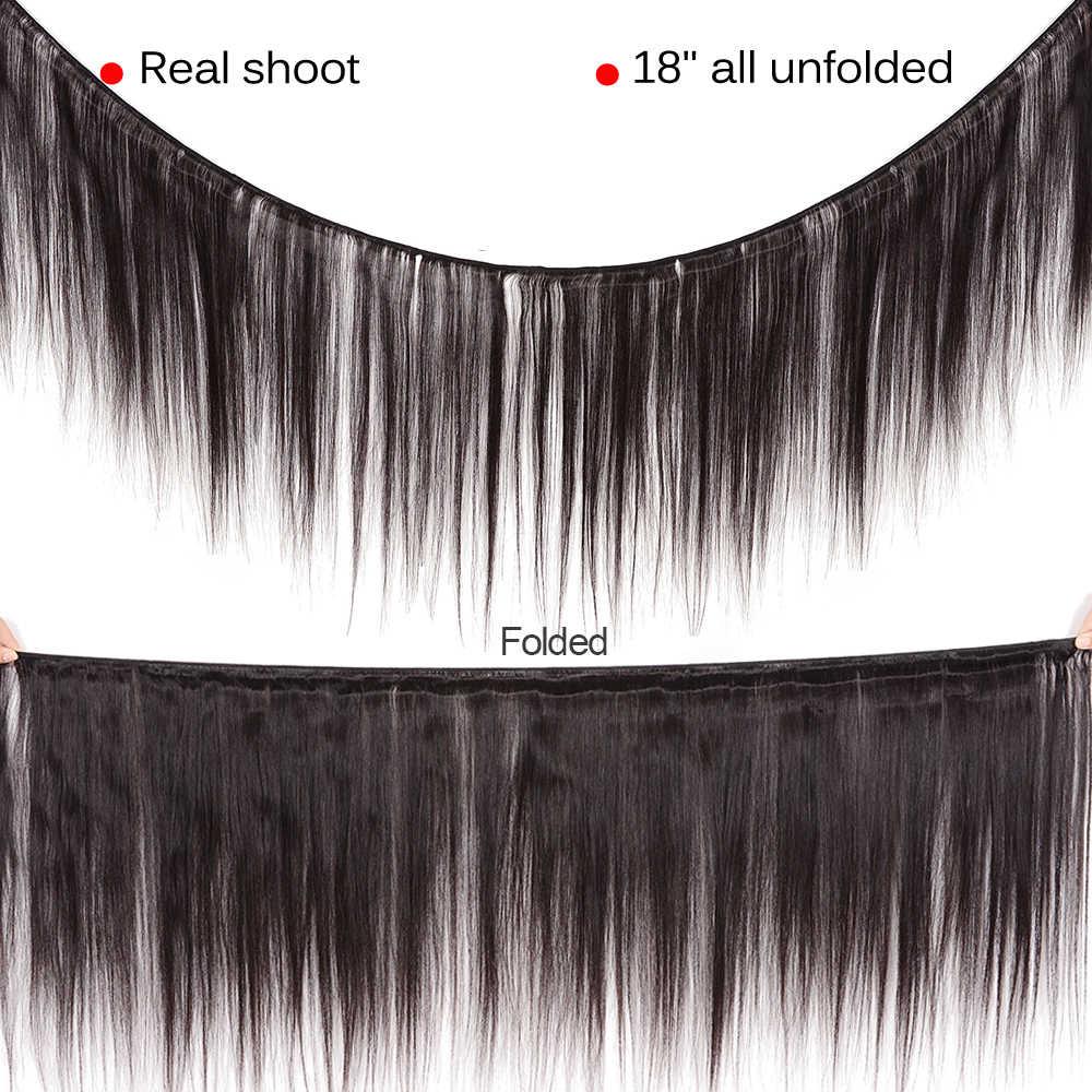 Mechones de pelo lacio brasileño con mechones de pelo no Remy con cierre mechones de cabello humano postizo peruano con cierre