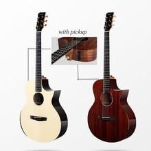 Enya Gitaar 40 Inch Solid Mahonie Gitaar Met Pickup Effen Engelman Sparren Gitaren String Muziekinstrumenten