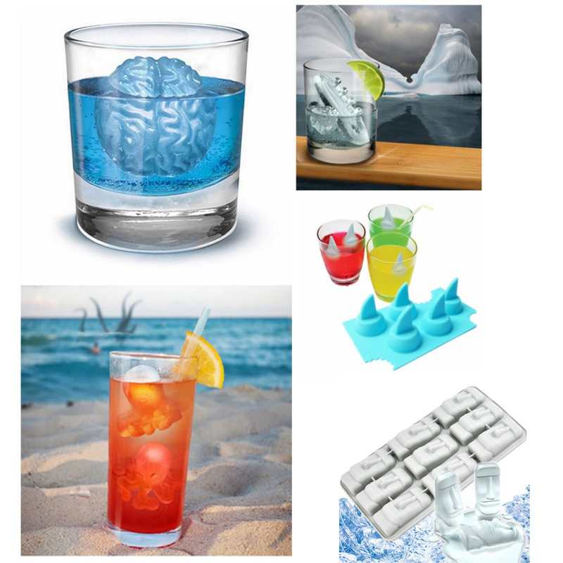 Food Level Ice Cube Model Brain Titanic Boat Octopus Shark Fins Easter Island Stone Image Ice Cube image