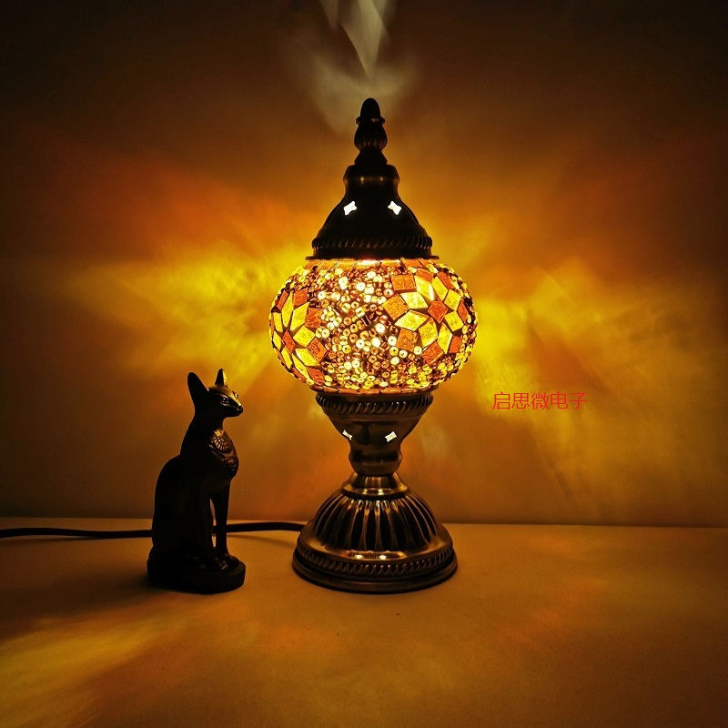 Lámpara de mesa mosaico turca vintage, lámparas artesanales de decoración artística, lámparas de mesa de mosaico de cristal, lámpara de cama romántica, lámparas con mosaicos
