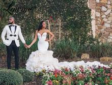 Długie suknie ślubne z trenem Ruffles suknie ślubne 2021 nigeryjczyk arabski małżeństwo Plus suknie ślubne suknie panny młodej Vestido De Noiva tanie tanio Lowime Kochanie Bez rękawów Organza Sąd pociąg CN (pochodzenie) Długość podłogi Lace up Wielowarstwowa Luxury ru