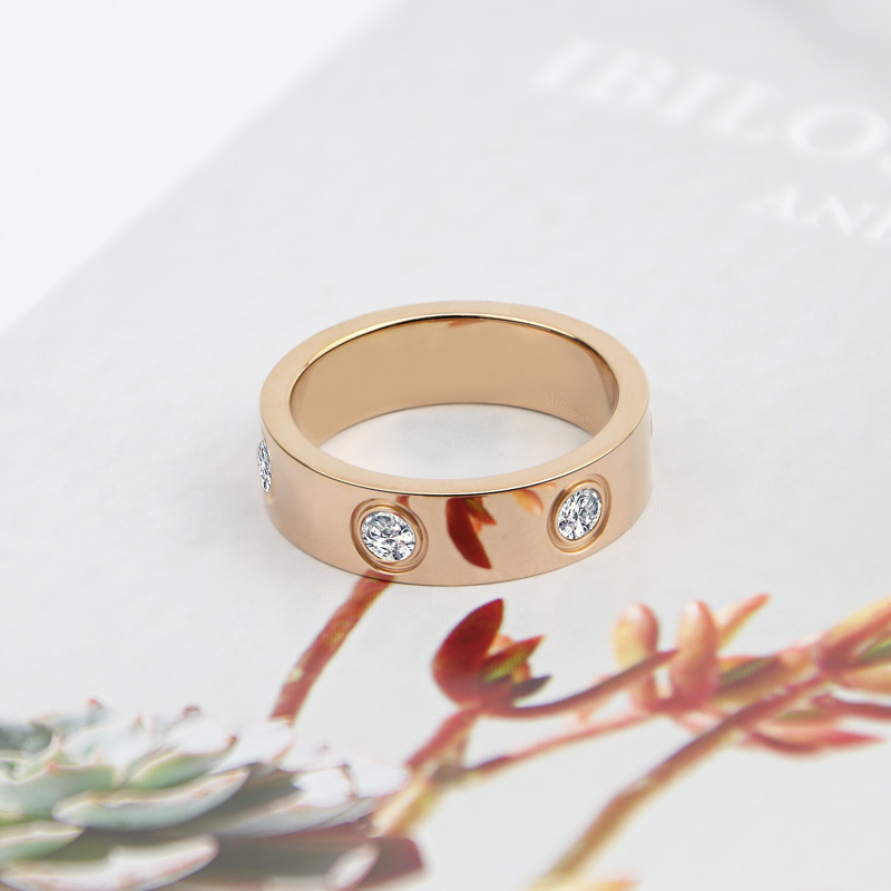 Luxury Shiny Rotating Circle Crystal Ring Stainless Steel Rose Gold Love Ring for Women Engagement gift Brands Ring 5