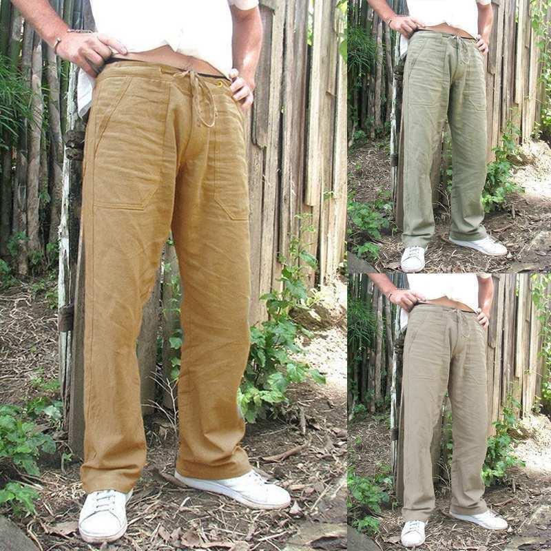 Vintage Men Cotton Linen Pants Casual Loose Wide Leg Trousers Homme Drawstring Pockets Streetwear Viking Pirate Fashion Outfits