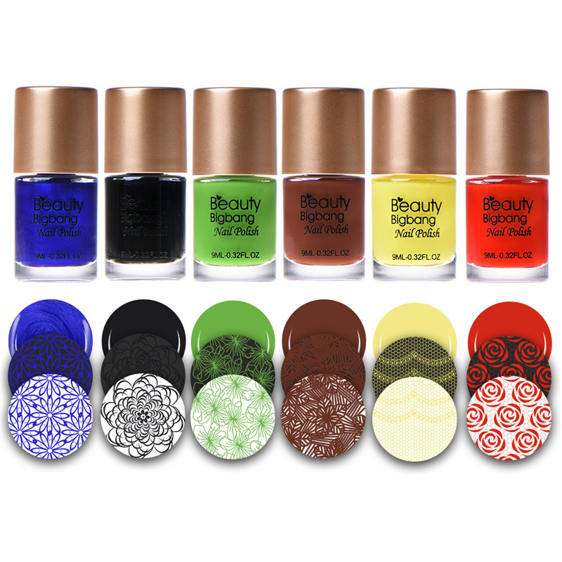 BeautyBigBang 6 bottles Nail Stamping Polish Set Printing Varnish Lacquer for Nail Art Stamping Plate Nail Polish