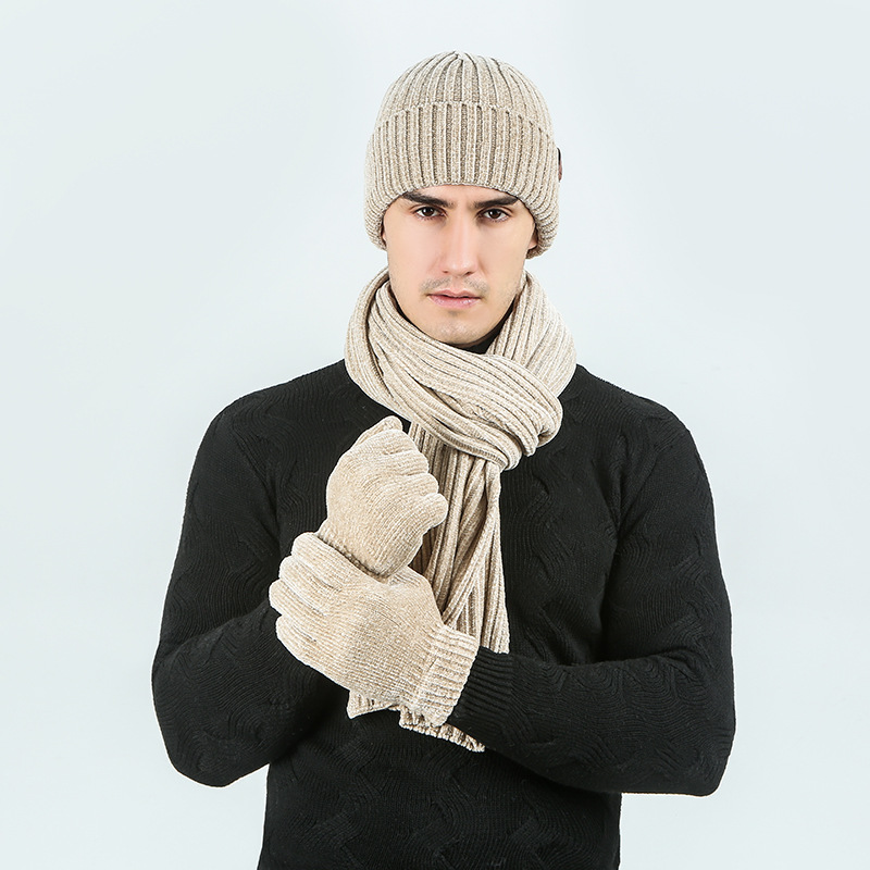 Knitted Wool Winter Hat And Scarf Set For Men Corduroy Wool BeaineCap And Scarves Gloves Set Solid Color Keep Warm