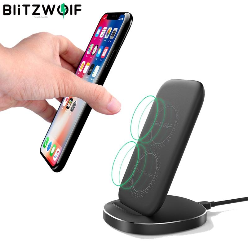 Cep telefonları ve Telekomünikasyon Ürünleri'ten Kablosuz Şarj Cihazları'de BlitzWolf BW FWC6 10W 7.5W 5W çift bobinler Qi akıllı kablosuz hızlı şarj standı tutucu iPhone 11 Pro X Samsung için Huawei için title=